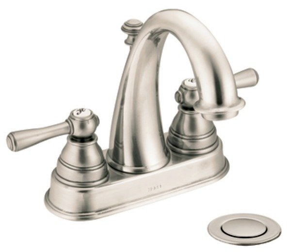 Moen 6121AN Kingsley Two Handle High Arc Bathroom Faucet Antique Nickel To