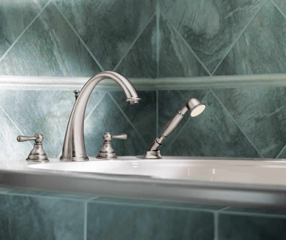 Moen T922bn Kingsley Two Handle High Arc Roman Tub Faucet And Hand Shower Without Valve Brushed