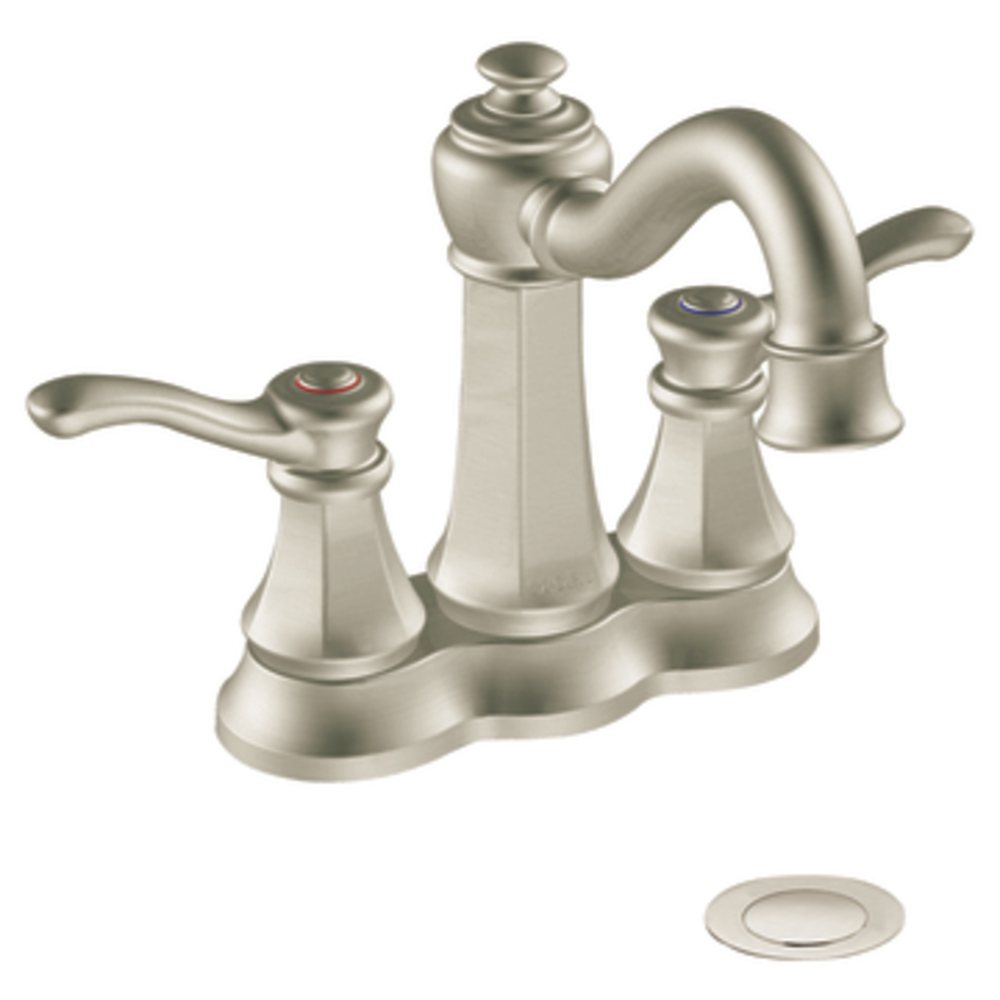 Moen 6301BN Vestige Two Handle Lavatory Faucet With Drain Assembly Brushed N
