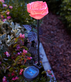 Moonrays pink rose stake light