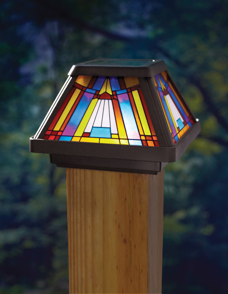 new stained glass solar power light fence post cap mount. Black Bedroom Furniture Sets. Home Design Ideas