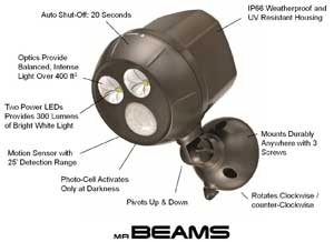 Mr. Beams MB390 Wireless Battery Powered LED Ultra Bright Weatherproof Spotlight with Motion Sensor