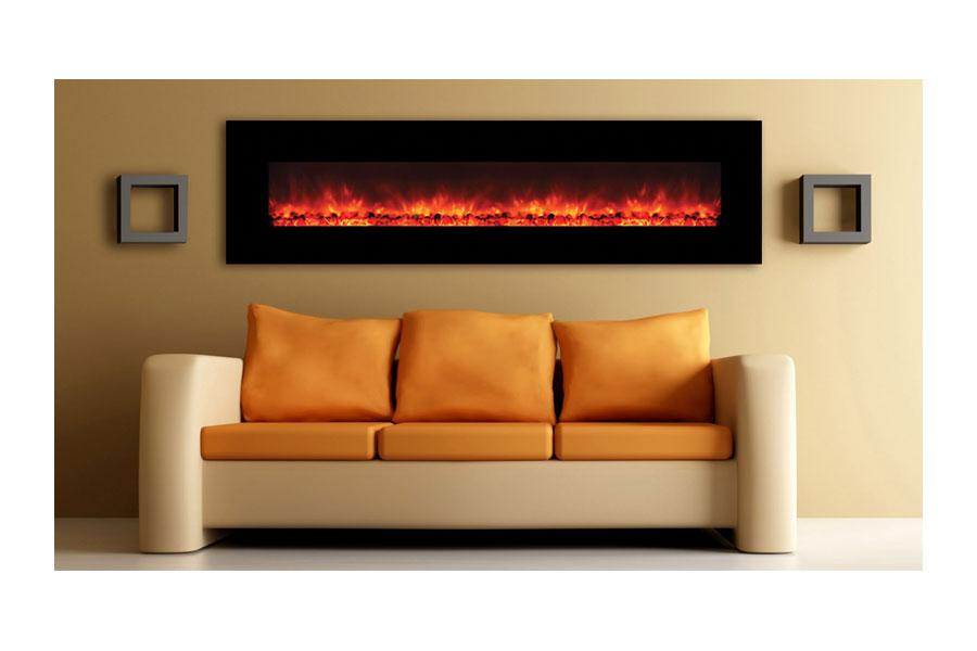 Yosemite Home Decor Df Efp1313 Contemporary Wide Glass Electric Fireplace Black