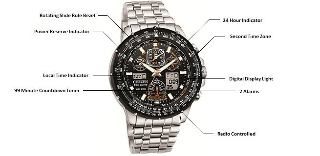 steel citizen designer watch bags promaster radio watches super stainless com controlled skyhawk en shop silver wardow