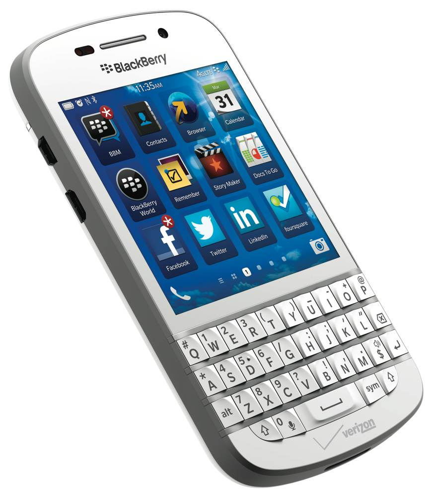 The BlackBerry Q10 with re-engineered QWERTY keyboard and 3.1-inch