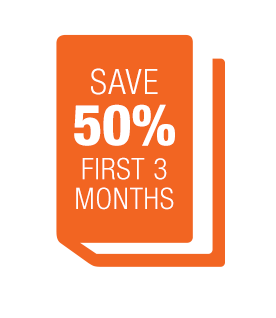 Save 50% in your first 3 months