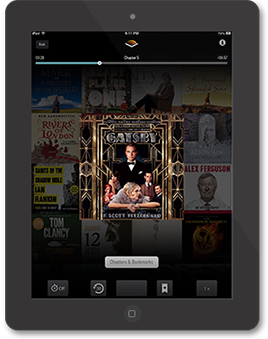iPad Audible App with The Great Gatsby audiobook
