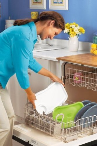 Carer puts tray in dishwasher