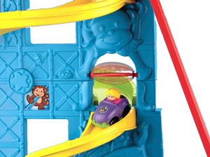 Car runs down the slide