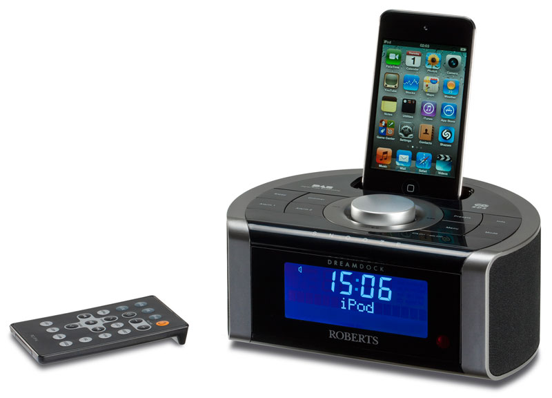 roberts dreamdock dab fm rds digital stereo clock radio with dock for ipod and iphone. Black Bedroom Furniture Sets. Home Design Ideas
