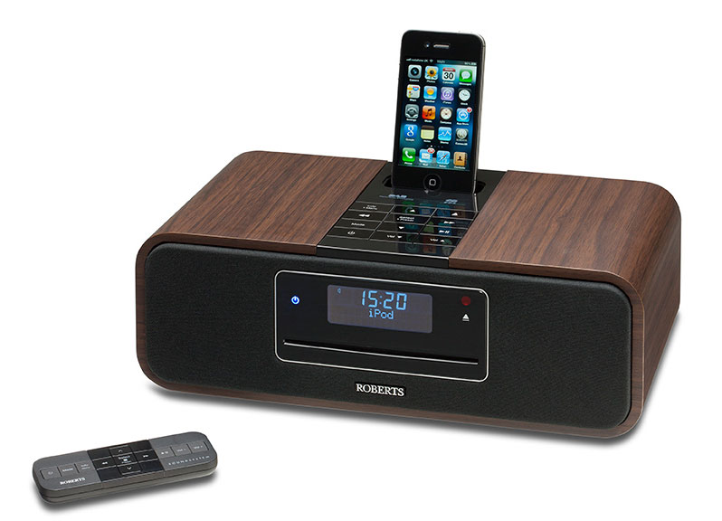 roberts sound100 cd dab fm digital sound system with dock for ipod iphone walnut discontinued. Black Bedroom Furniture Sets. Home Design Ideas
