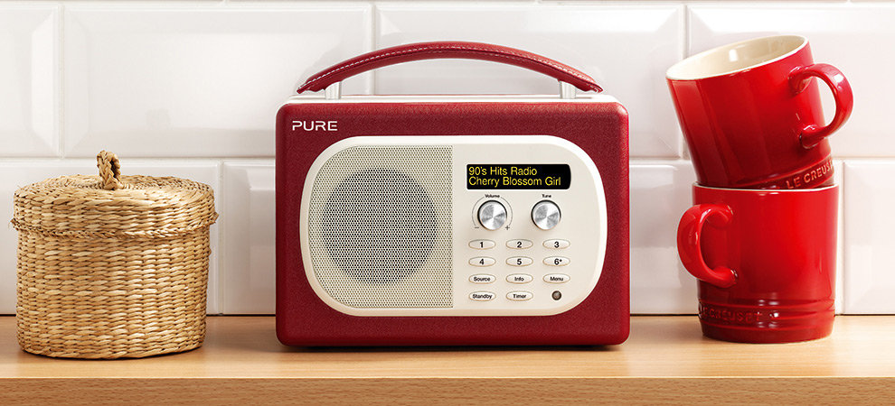 pure evoke mio dab fm radio cherry tv. Black Bedroom Furniture Sets. Home Design Ideas