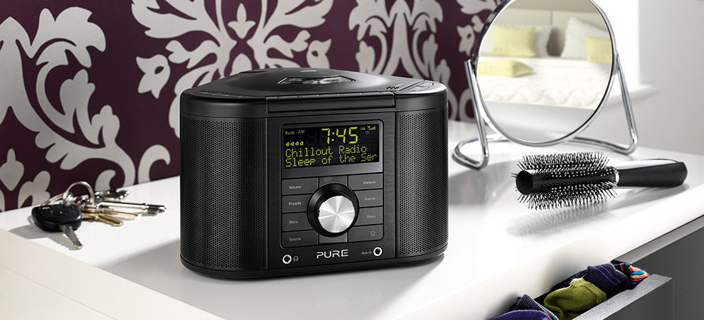 pure chronos cd series ii dab fm cd stereo clock radio black. Black Bedroom Furniture Sets. Home Design Ideas
