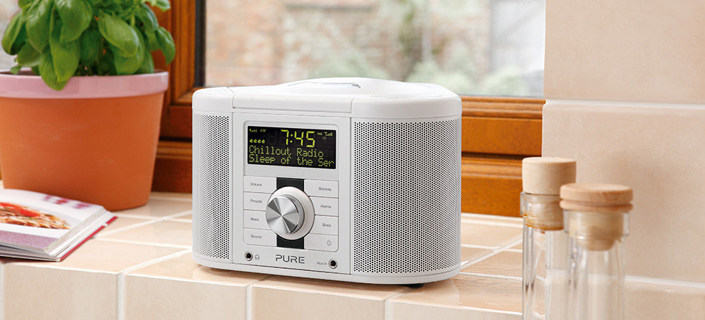 pure chronos cd series ii dab fm cd stereo clock radio black tv. Black Bedroom Furniture Sets. Home Design Ideas