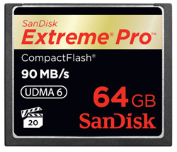 SanDisk Extreme Pro CompactFlash 64GB Memory Card