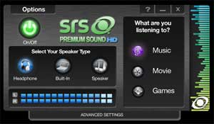 SRS Premium Sound HD helps you to get the best sound experience possible from your music, movies and games.