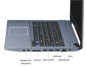 The full-sized keyboard is spill-resistant and LED backlit.