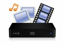 An HD media player with built-in high capacity hard drive.