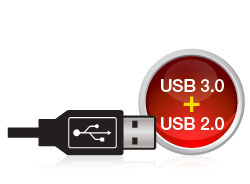 Use it with USB 2.0 now and step up to USB 3.0 speed when you're ready.