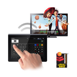 One remote to control them all. Start the movie on your TV, turn up the volume on the home theatre and dim the lights, with the built in universal remote.