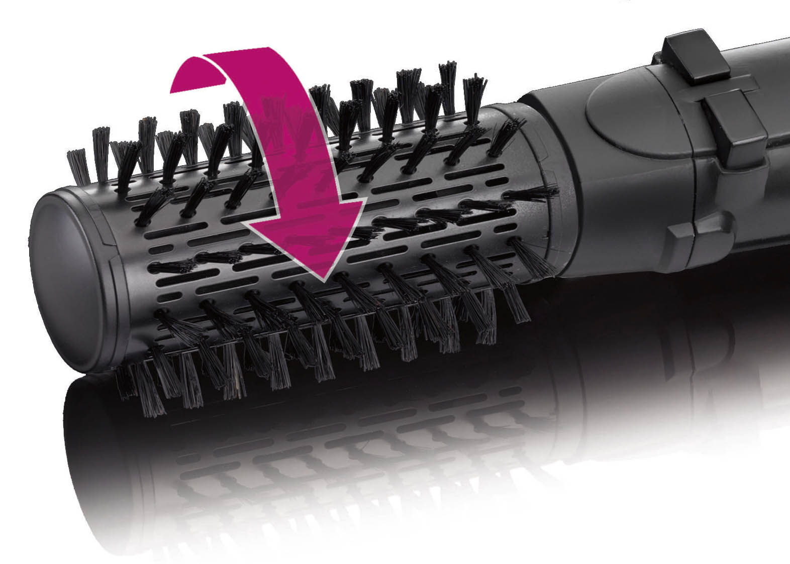 Revolutionary rotating styling brush moves clockwise and counter-clockwise