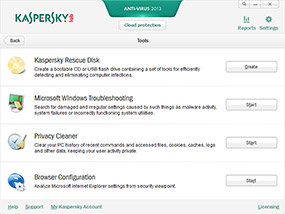 Kaspersky Anti-Virus 2013 Tools
