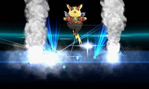 Pikachu appears on stage wearing an elaborate outfit