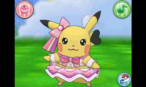 Pikachu in its cute pink frilly Pop Star outfit