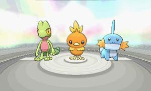 Choose your first Pokémon: Treecko, Torchic, or Mudkip