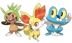 Choose from Chespin, Fennekin, and Froakie