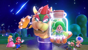 Players can choose to play as Mario, Luigi, Princess Peach, or Toad