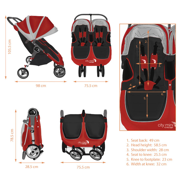 Baby Jogger City Mini Double (Crimson): Amazon.co.uk: Baby