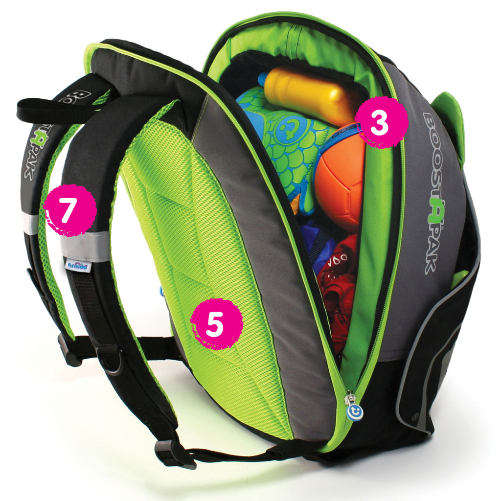 trunki boostapak travel backpack booster car seat green luggage