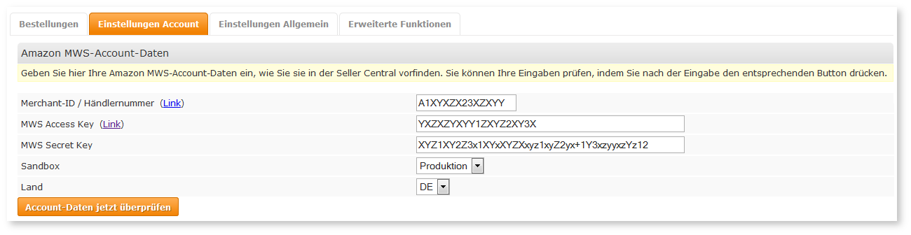 Konfiguration in den JTL-Plugin-Einstellungen