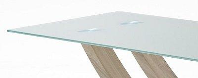 esstisch kaleo tischplatte glas creme matt lackiert gestellkombination aus edelstahl. Black Bedroom Furniture Sets. Home Design Ideas