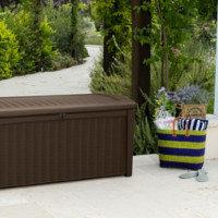 keter 17198682 kissenbox borneo rattanoptik kunststoff espresso braun 400 liter dc470. Black Bedroom Furniture Sets. Home Design Ideas