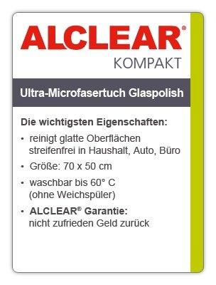 ALCLEAR 820051UM Ultra-Microfasertuch Glaspolish 70 x 50 cm, blau