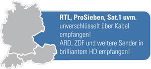 RTL, ProSieben, Sat.1 uvm unverschlüsselt über digitales Kabel empfangen. ARD, ZDF und weitere Sender in brilliantem HD empfangen.