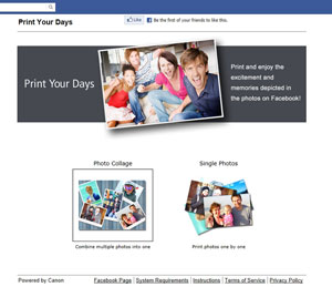 Die Print Your Days App ermöglicht den Fotodruck direkt aus Facebook