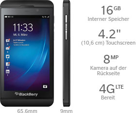 Das BlackBerry Z10 Smartphone