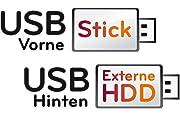 USB-Anschlüsse an Front- und Rückseite