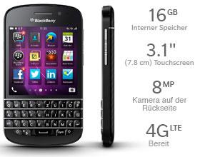 Das BlackBerry Q10 Smartphone