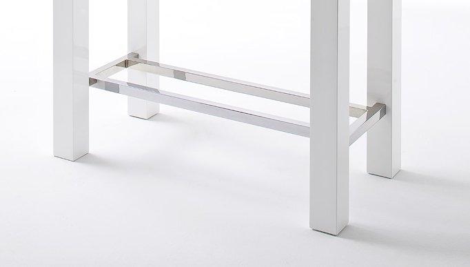 jam bartisch 4 fu tischplatte glas lackiert farbe hochglanz wei gestell 4 fu mit. Black Bedroom Furniture Sets. Home Design Ideas