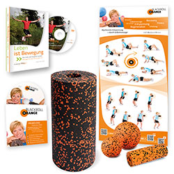 Blackroll Orange (Das Original) - DIE Selbstmassagerolle - Vital-Set STANDARD plus - inkl. Übungsposter & DVDs