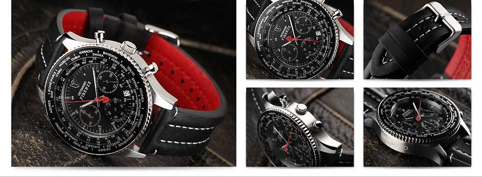 detomaso herren uhr firenze chronograph mit lederarmband. Black Bedroom Furniture Sets. Home Design Ideas