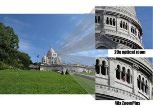 Réalisez de superbes prises de vue à longue distance grâce au zoom 20× et allez au plus près avec ZoomPlus