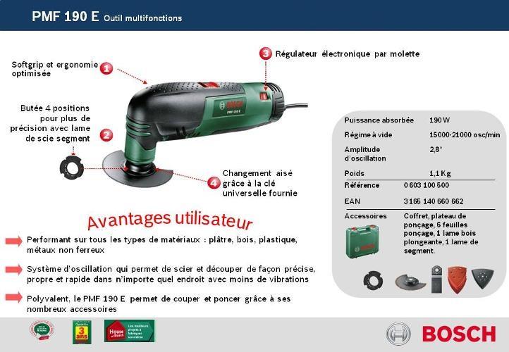 Bosch outil multifonction universal pmf 190 e avec for Outil multifonction bosch pmf 190 e