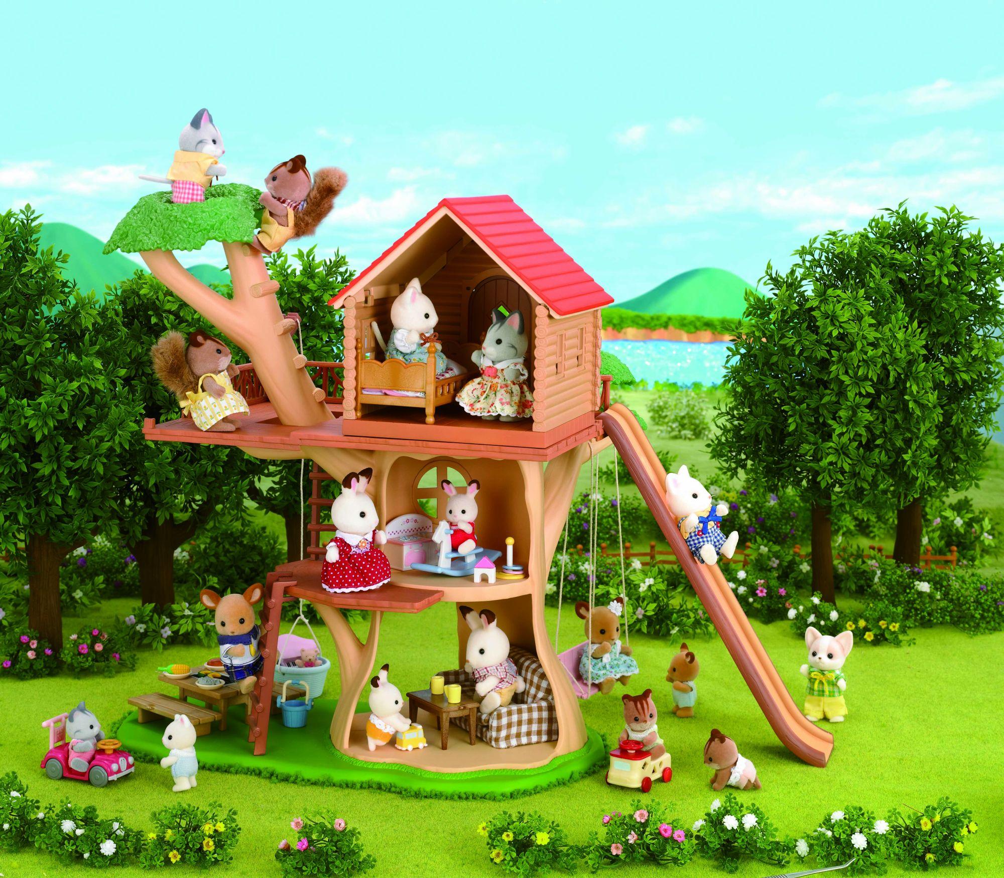 Sylvanian families 2882 mini poup e cabane dans les for Arbre maison jouet