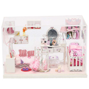 弘达diy手工小屋有机玻璃梦幻公主房g003带灯木质模型