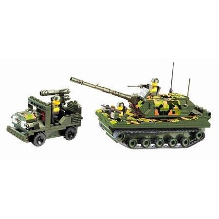 沃马玩具军事系列拼插玩具特种部队坦克车312块装白丝积木图片